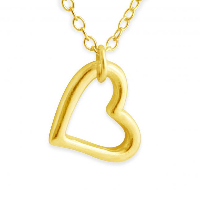 Gold plated necklace Hanging Outline Heart