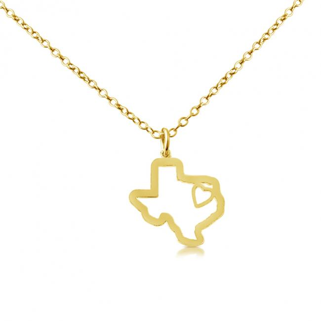 Gold plated necklace Texas Home is Where The Heart Is State Necklace