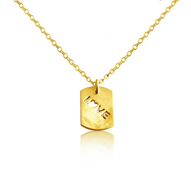 Gold plated necklace Love Dog Tag