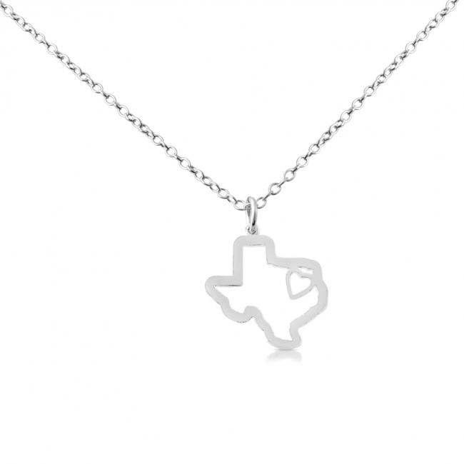925 sterling silver necklace Texas Home is Where The Heart Is State Necklace