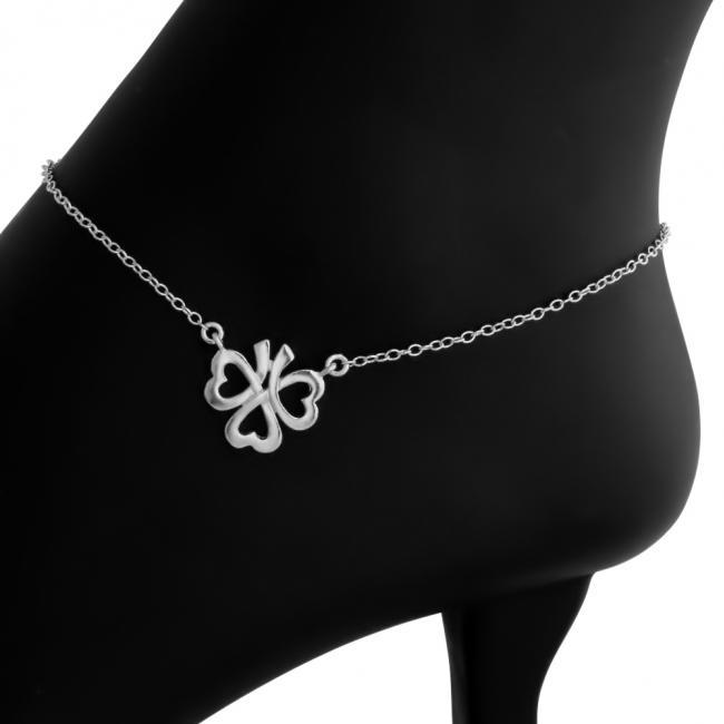 925 sterling silver anklet Heart Shamrock Clover Lucky Charm Pendant