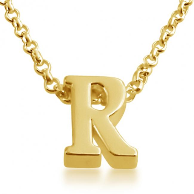 Gold plated necklace Initial Letter R Personalized Symbols & Letters Serif Font