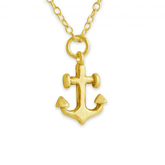 Gold plated necklace Anchor Double Sided Nautical