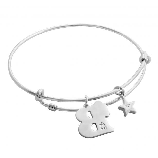 925 sterling silver bracelet Born Under a Lucky Star Adjustable Wire Bangle