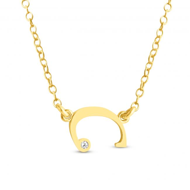 Gold plated necklace Initial Script Letter C with CZ Sideways