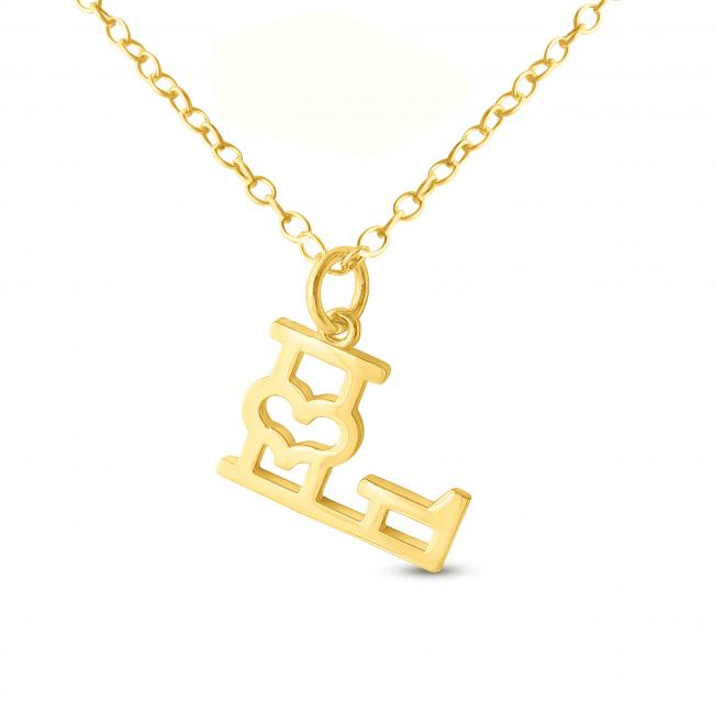 Gold plated necklace Initial Letter L with Heart