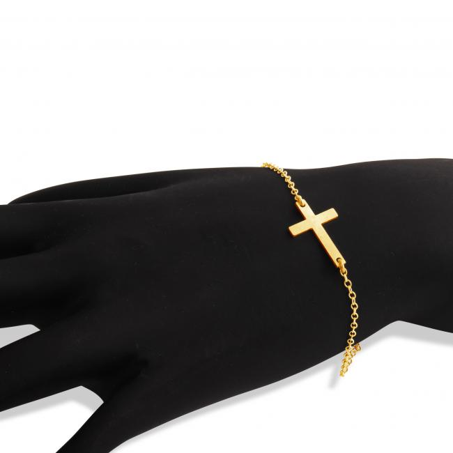 Gold plated bracelet Simple Sideways Cross Religious