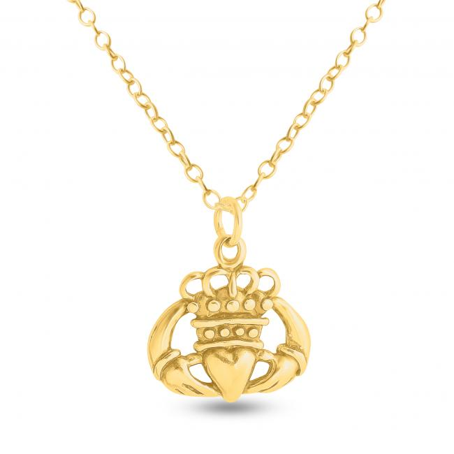 Gold plated necklace Hands Holding Crowned Heart Irish Claddagh