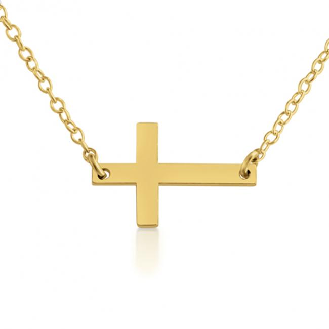 Gold plated necklace Simple Sideways Cross Religious