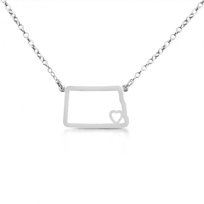 925 sterling silver necklace North Dakota Home is Where The Heart Is State Necklace