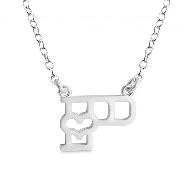 925 sterling silver necklace Initial Letter P with Heart Sideways