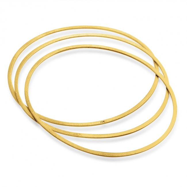 Gold plated bracelet Thin Oval Bangles 1.8mm Set of 3 - Small