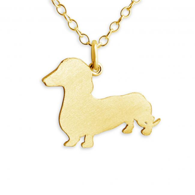 Gold plated necklace Dachshund (Silhouette)