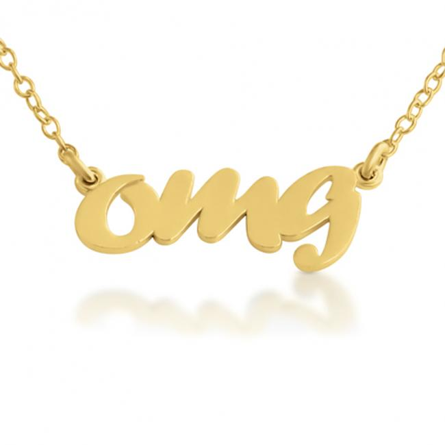 Gold plated necklace OMG (Script Word)
