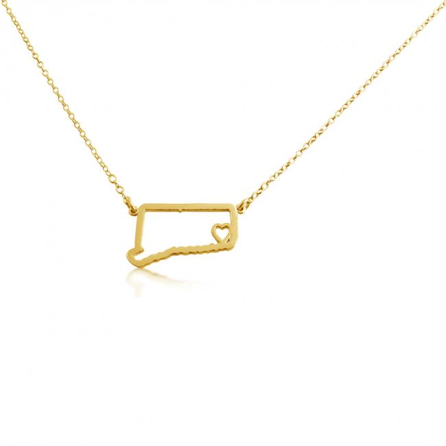 Gold plated necklace Connecticut Home is Where The Heart Is State Necklace