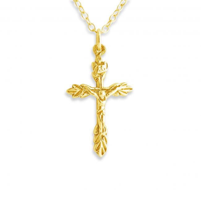 Gold plated necklace Crucifix w/ Leaves