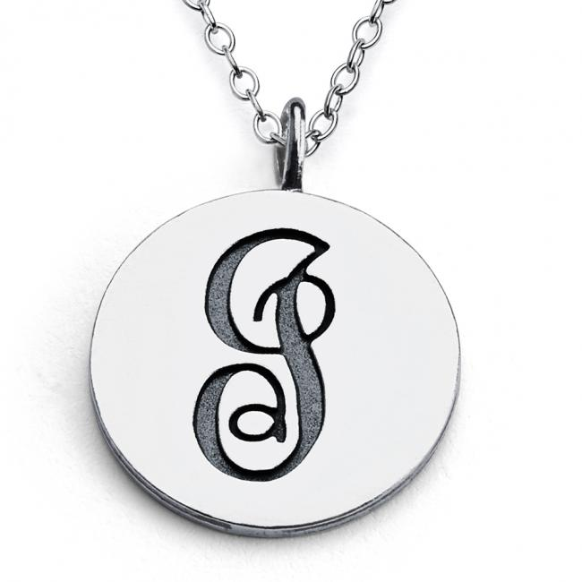 925 sterling silver necklace I Script Letters