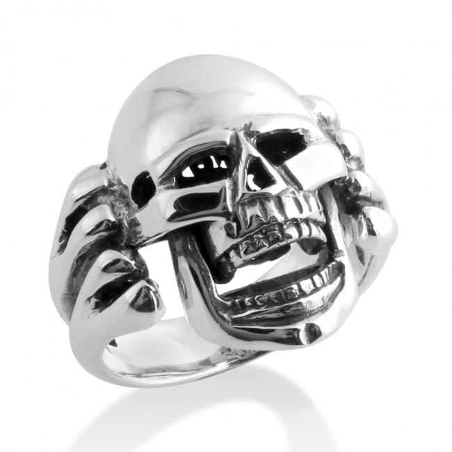 925 sterling silver ring Large Skull Biker Motorcycle Hardcore Born to Ride Mens Ring Moving Jaw