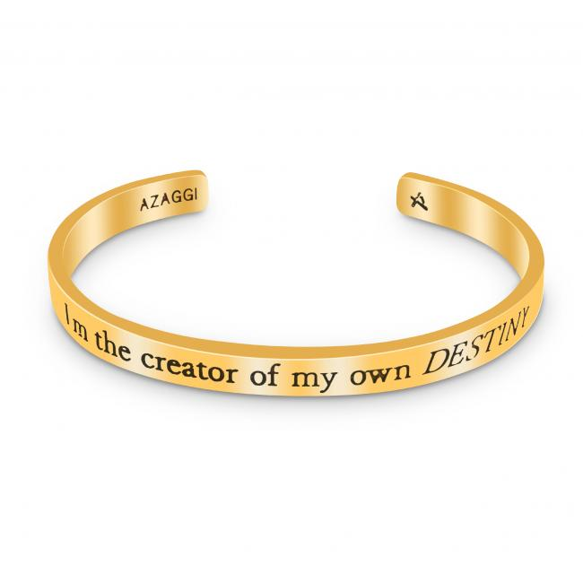 Gold plated bracelet Brass/ Rhodium I'm the Creator of My Own Destiny Inspirational Cuff Bracelet