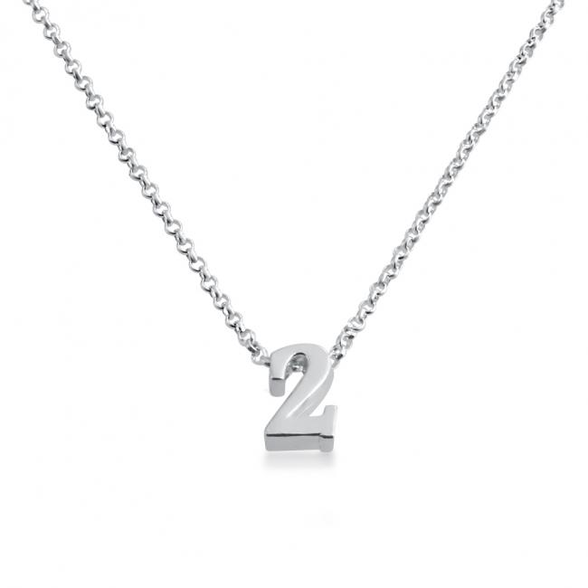 925 sterling silver necklace Initial Letter 2 Personalized Symbols & Letters Serif Font