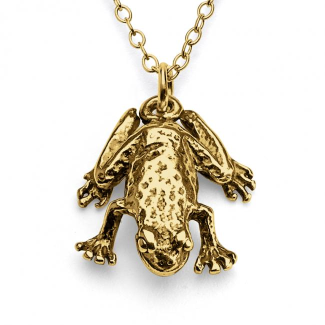 Gold plated necklace Solid 3D Frog