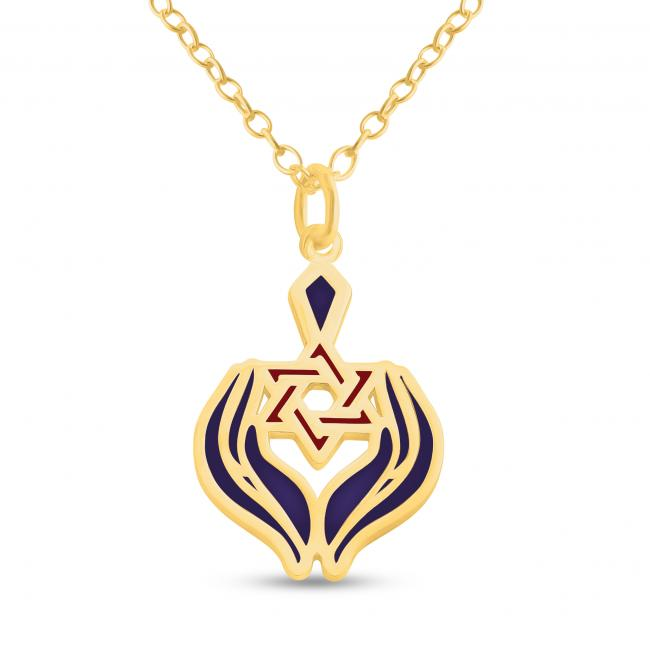 Gold plated necklace Hands Holding Star of David