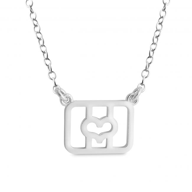 925 sterling silver necklace Initial Letter O with Heart Sideways