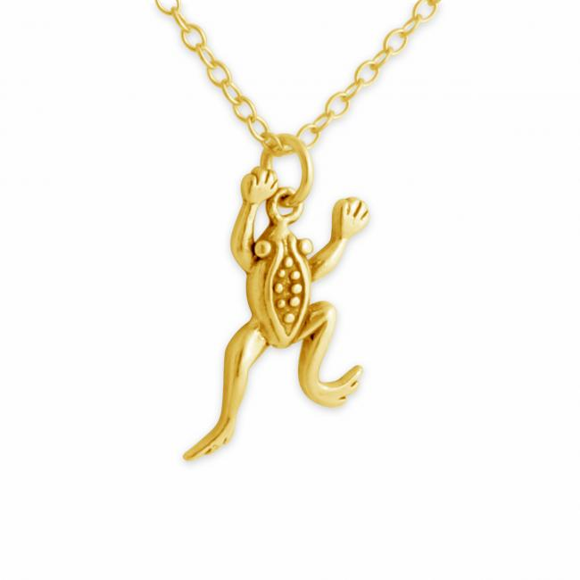 Gold plated necklace Leaping Frog