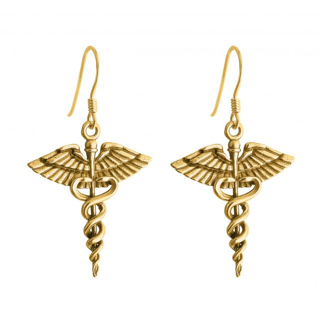 Gold plated earrings Caduceus Symbol of Medicine Necklace For Doctors & Nurses