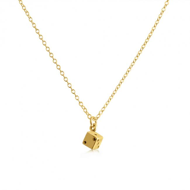 Gold plated necklace Tiny Die/ Dice Fun Lucky 7 11