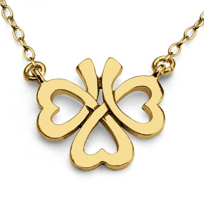 Gold plated necklace Upside Down Four-Leaf Clover Jump Ring Necklace
