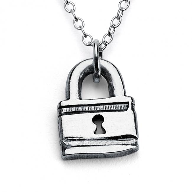 925 sterling silver necklace Little Love Lock Double Sided