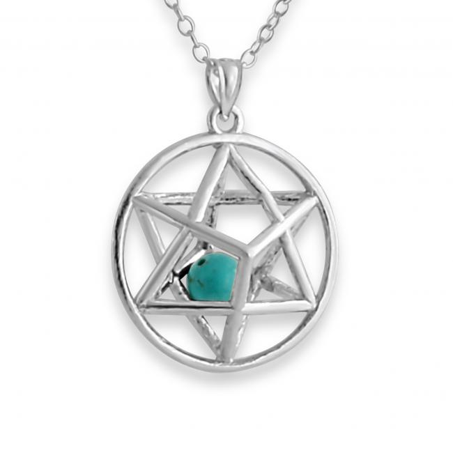 925 sterling silver necklace 3D Star of David w/ Synthetic Turcoaz Bead