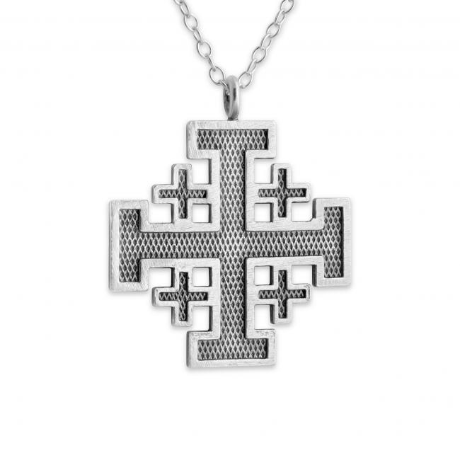 925 sterling silver necklace Jerusalem Cross Outlined