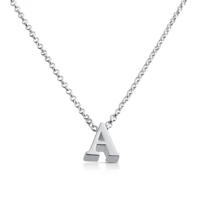 925 sterling silver necklace Initial Letter A Personalized Symbols & Letters Serif Font