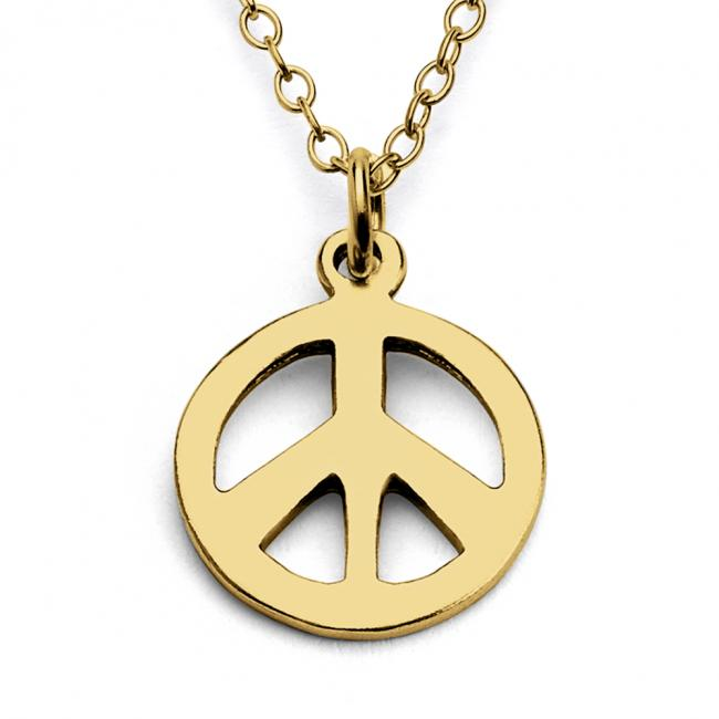 Gold plated necklace Tiny Peace Sign Hippie Symbol