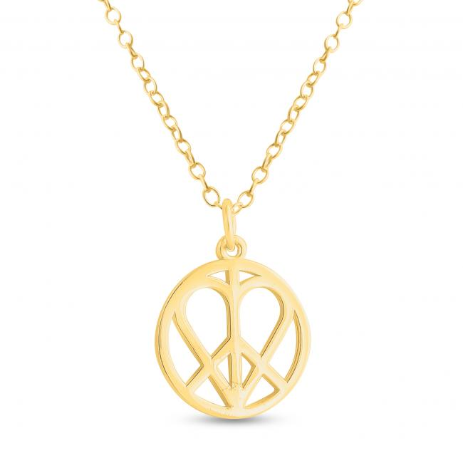 Gold plated necklace Heart in Peace Sign Hippie Love