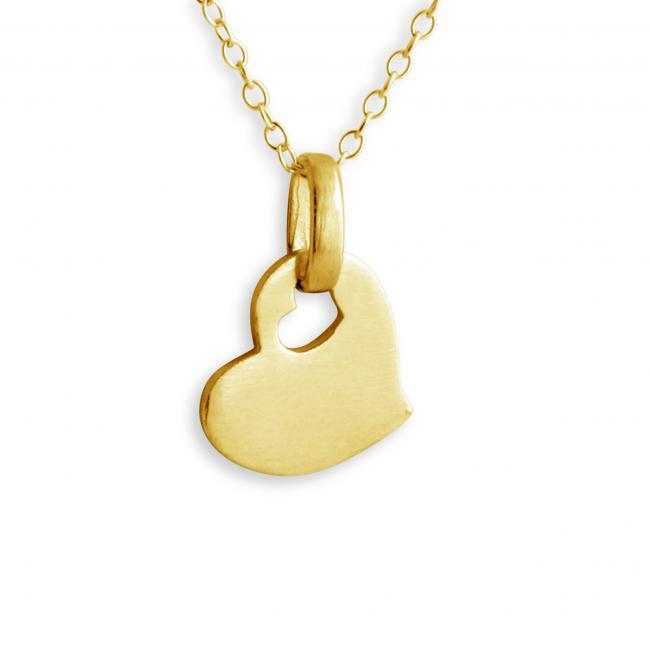Gold plated necklace Love Heart with Heart Hall