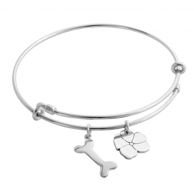925 sterling silver bracelet Happy Puppy Adjustable Wire Bangle