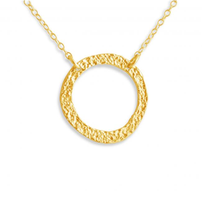 Gold plated necklace Large Karma Ring