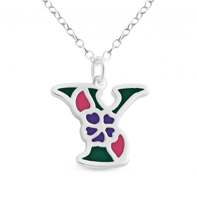 925 sterling silver necklace Colored Initial Letter Y with Flower