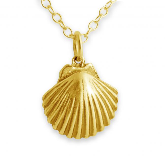 Gold plated necklace Scallop Seashell Clam Sea Shell