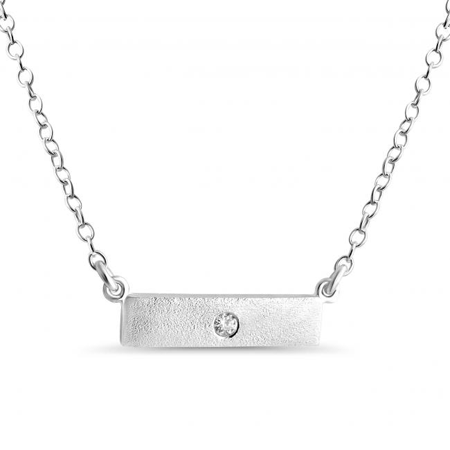925 sterling silver necklace Solid Textured Bar w/ CZ Sideways