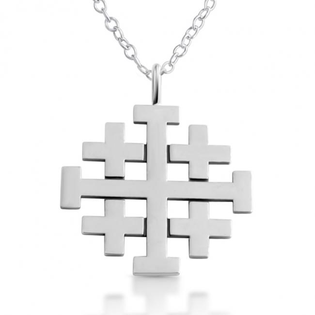 925 sterling silver necklace Jerusalem Cross