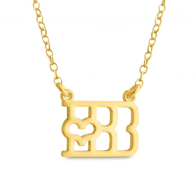 Gold plated necklace Initial Letter B with Heart Sideways