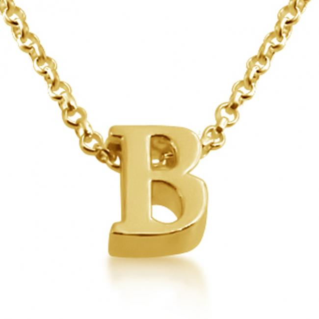 Gold plated necklace Initial Letter B Personalized Symbols & Letters Serif Font