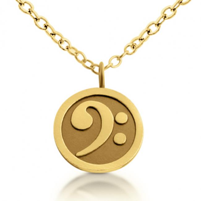 Gold plated necklace Bass Clef