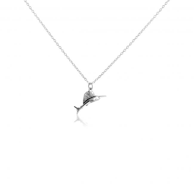 925 sterling silver necklace 3D Wild Marlin Fish Fishing Water Sport