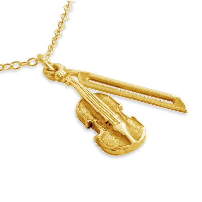 Gold plated necklace 3D Violin and Bow String Musical Instrument