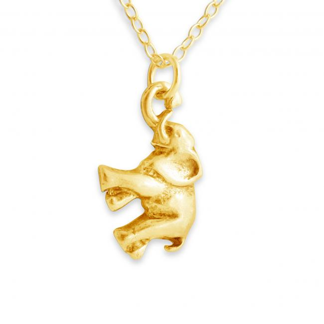 Gold plated necklace Cute Elephant Sacred Worshipped Animal